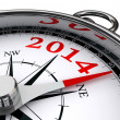 New year 2014 indicated by conceptual compass — Stock Photo