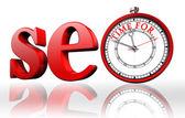 Seo red word and clock — Foto de Stock