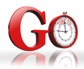 Go red word and clock — Stock Photo