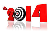 2014 new year and target arrow — Stock Photo