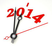 New year 2014 concept clock hands closeup — Stock Photo