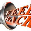Feedback orange word in bullhorn — Stock Photo