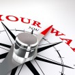 Your way conceptual compass rose — Stock Photo