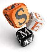 Sem orange black dice blocks — Stock Photo
