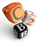 C2b orange black and white dice blocks — Stock Photo