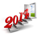 New year 2014 entering door steps — Stock Photo