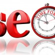 Seo red word and clock — Stock Photo