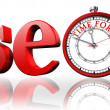 Seo red word and clock — Stock Photo #36289215