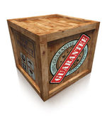 Guarantee sign on wooden box crate — Stock Photo