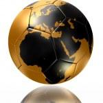 Gold soccer ball globe world map europe africa — Stock Photo