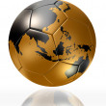Gold soccer ball globe world map australia asia — Stock Photo
