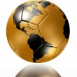 Gold soccer ball with world map america — Stock Photo #43855193