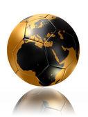 Gold soccer ball globe world map europe africa — Photo