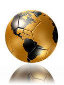 Gold soccer ball with world map america — Stock Photo