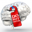 Concentrate concept do not disturb red sign on human brain — Stock Photo #49331177