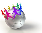 Soccer ball with colorful people team chain — Stock Photo
