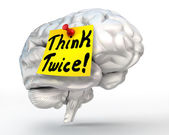 Think twice brain conceptual image — Stockfoto