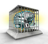 Human brain in a cage — Stockfoto