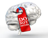 Concentrate concept do not disturb red sign on human brain — ストック写真
