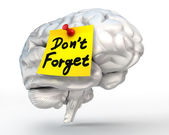 Do not forget reminder note on brain — Stockfoto