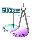 Success, plan and work in circles and drawing compass — Stockfoto