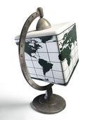 Cube desktop metal globe — Stockfoto