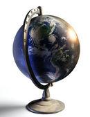 Earth desktop metal globe show american continent — Stock Photo
