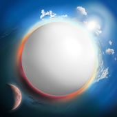 White sphere like planet with sun and moon — Stock Photo