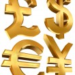 Pound dollar euro and yen golden symbols — Stock Photo #6526264