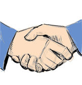 Business hand shake between two colleagues. — Stock Vector