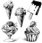 Ice cream and cake set. — Stock Vector