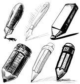 Colección de bolígrafos y lápices. — Vector de stock