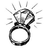 Ring with a big sparling diamond isolated on white background. — Stock Vector