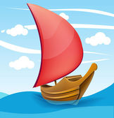 Romantic boat with red sail on a cloudy background. — Cтоковый вектор