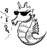 Seahorse in sunglasses whistling music. — Stock Vector