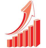 Red arrow diagram chart. — Stock Vector
