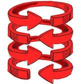 Rounded spiral arrows . — Vetor de Stock