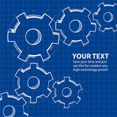 Techno blue background with hand drawing gears and sample text. — Wektor stockowy