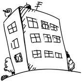 Block of flats in cartoon style. — Stock Vector