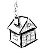 Cute little house with smoke. — Stock Vector