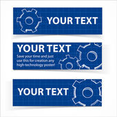 Techno blue background with hand drawing gears and sample text. — Stock Vector