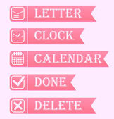 Banners with office icons set in pink color. — Stock Vector