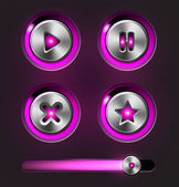Glossy metal buttons with track bar. — Stock Vector