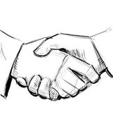Hand shake sketch illustration — Stock Vector