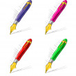 Collection of bright ink pens — Stock Vector