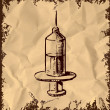 Syringe icon isolated on vintage background. - Stock Vector