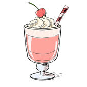 Creamy milk shake with cherry and foam. — Stock Vector