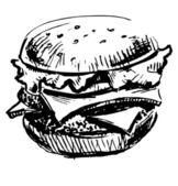 Delicious juicy burger. — Stock Vector