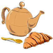 Fresh croissant and kettle. — Stock Vector