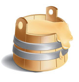 High quality mesh vector icon of wooden barrel of honey and sweetness with metal silver clamps. — Stock Vector